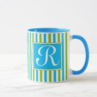 Monograma azul y verde colorido del modelo de la taza