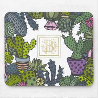 Monograma B del cactus Alfombrilla De Ratón