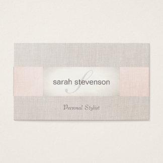 Monograma beige del lino elegante y rosado rayado tarjeta de visita