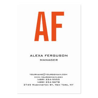 Monograma blanco anaranjado simple llano único de tarjetas de visita grandes