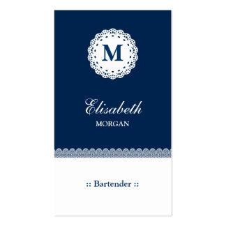 Monograma blanco azul del cordón del camarero tarjeta de visita