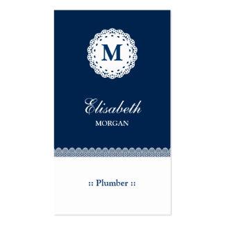 Monograma blanco azul del cordón del fontanero tarjeta de negocio
