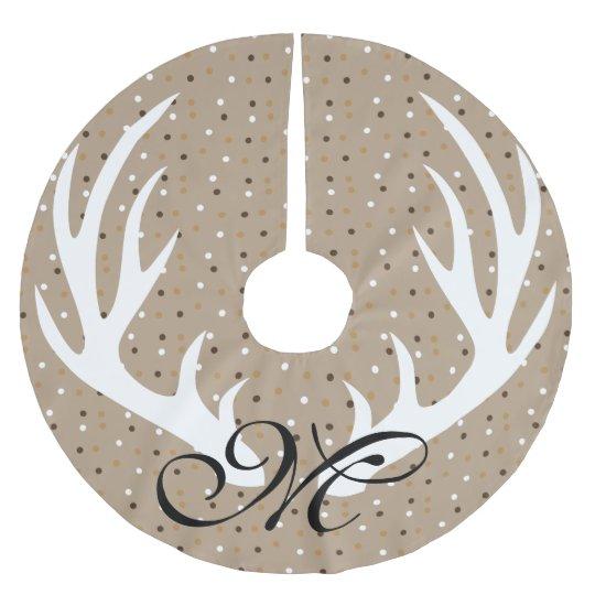 Monograma blanco del negro del confeti del oro de falda para el árbol de navidad de poliéster