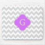 Monograma blanco gris de Quatrefoil de la lila de  Tapetes De Raton