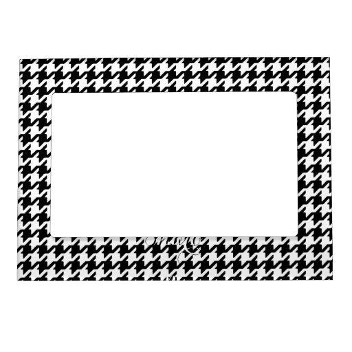 Monograma blanco negro de moda del modelo del houn marcos magneticos