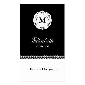 Monograma blanco negro del cordón del diseñador de tarjetas de visita