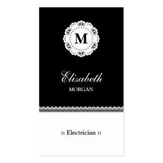 Monograma blanco negro del cordón del electricista tarjetas de visita