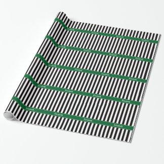 Monograma blanco negro del nombre de la cinta del papel de regalo