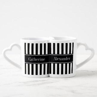 Monograma blanco negro del nombre del negro de la set de tazas de café