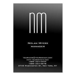 Monograma blanco negro simple llano único tarjetas de visita grandes