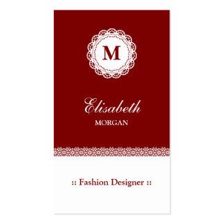 Monograma blanco rojo del cordón del diseñador de tarjetas de visita