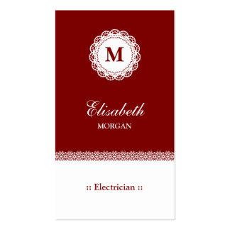 Monograma blanco rojo del cordón del electricista tarjetas de visita