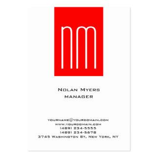 Monograma blanco rojo simple llano único vertical tarjetas de visita grandes
