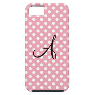 Monograma blanco rosado de los lunares iPhone 5 carcasas