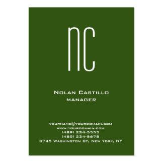 Monograma blanco verde simple llano único tarjetas de visita grandes