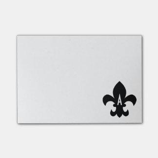 Monograma blanco y negro de la flor de lis notas post-it®