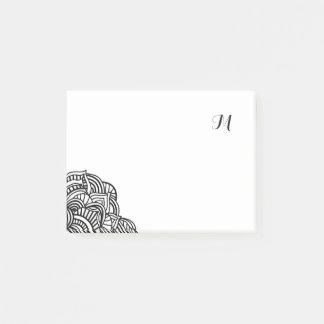 Monograma blanco y negro del medallón notas post-it®