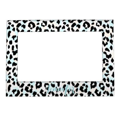 Monograma blanco y negro elegante de la impresión marcos magnéticos para fotos