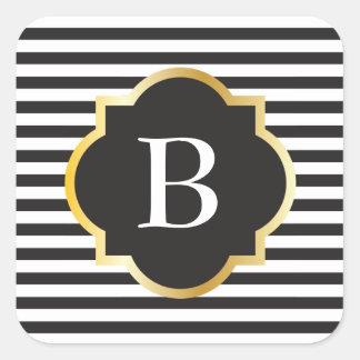 Monograma blanco y negro elegante del oro de la pegatina cuadrada