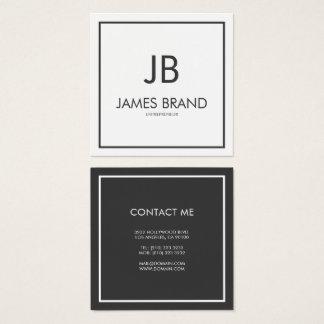 Monograma blanco y negro minimalista cuadrado tarjeta de visita cuadrada