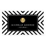 Monograma blanco y negro retro del oro del modelo tarjetas de visita