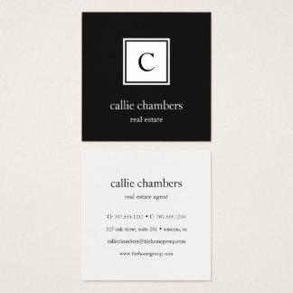 Monograma blanco y negro tarjeta de visita cuadrada