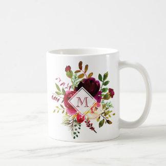 Monograma brillante del ramo floral de Borgoña Taza De Café