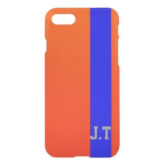 Monograma brillante magnífico del naranja y del funda para iPhone 7
