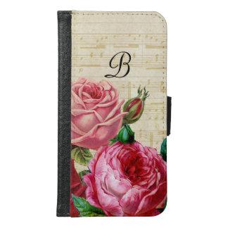 Monograma color de rosa floral del vintage carteras