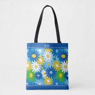 Monograma colorido de las margaritas del jardín de bolso de tela