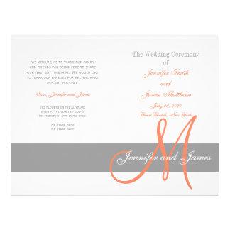 Monograma coralino gris del programa el | del boda folleto 21,6 x 28 cm