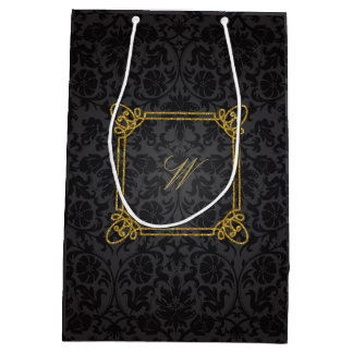 Monograma cuadrado moderno en el damasco negro bolsa de regalo mediana
