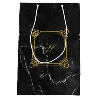 Monograma cuadrado moderno en el mármol negro bolsa de regalo mediana