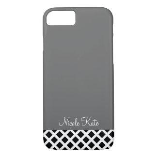 monograma cuadrado moderno gris de la rejilla funda iPhone 7