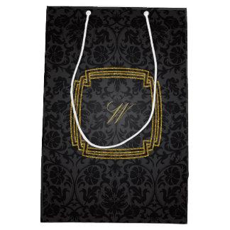 Monograma cuadrado simple en el damasco negro bolsa de regalo mediana