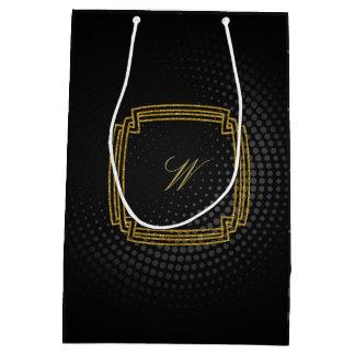 Monograma cuadrado simple en la circular negra bolsa de regalo mediana