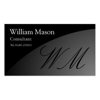 Monograma curvado negro - tarjeta de visita profes