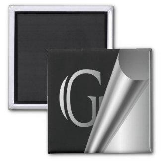 """Monograma de acero """"G """" de la cáscara Imán Cuadrado"""