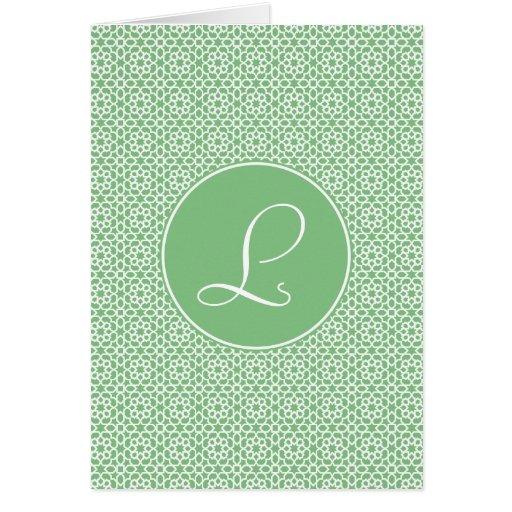 Monograma de arabesco marroquí geometría verde tarjeta