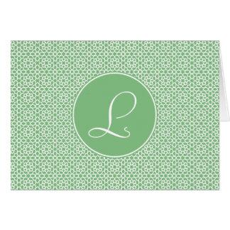 Monograma de arabesco marroquí geometría verde felicitaciones
