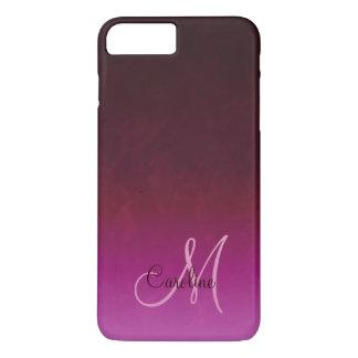 Monograma de Borgoña Ombre de las rosas fuertes Funda iPhone 7 Plus