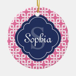 Monograma de cadena cuadrado rosado del azul del adorno navideño redondo de cerámica