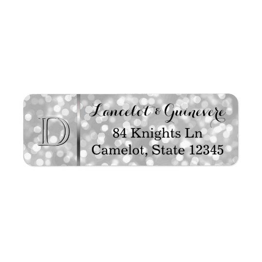 Monograma de encargo de plata elegante del boda de etiquetas de remite