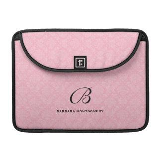 Monograma de encargo en damasco rosado fundas para macbooks