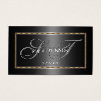 Monograma de encargo negro gris del oro geométrico tarjeta de visita