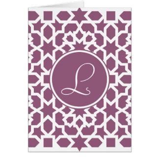 Monograma de geometría en elegante violeta tarjeton