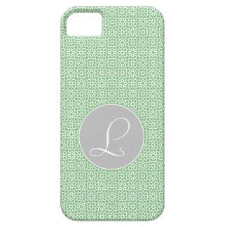 Monograma de geometría marroquí verde y gris funda para iPhone SE/5/5s