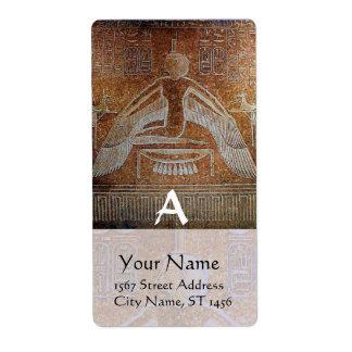 MONOGRAMA de ISIS, blanco marrón antiguo Etiquetas De Envío