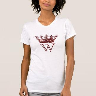 Monograma de la corona del vintage camiseta