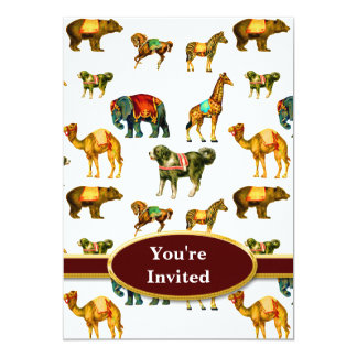 Monograma de la diversión del animal de circo invitación 12,7 x 17,8 cm